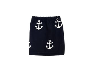 Mini Skirt, Anchors, Classic, Navy Blue, White, Fits dolls such as AG Wellie Wishers, 14 inch Doll Clothes