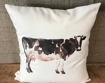 Cow Pillow Cover, throw pillow, cushion cover, farmhouse pillow,modern farmhouse, white pillow, natural pillow, rustic decor