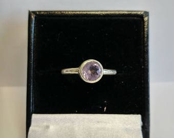 Hammered amethyst ring, size M