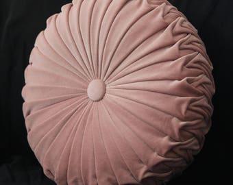 Blush Pink Velvet Vintage Style Round Cushion