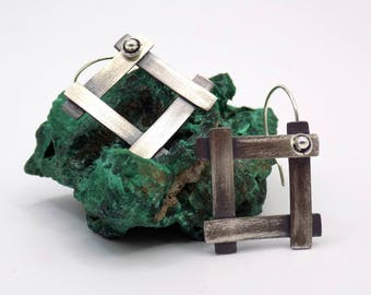 Earrings silver thin, square, contemporary earring, metal clay, handmade jewelry, Chinese