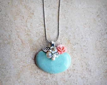 Cerulean pendant made from porcelain, babypink pink, Swarovski beads, shell flower, freshwater pearls. Gift for her!