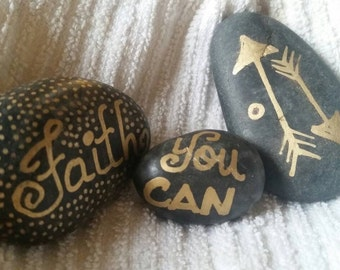 Faith / Affirmation Stone / hand painted rock / worry stone / scatter rocks / river rock / you can