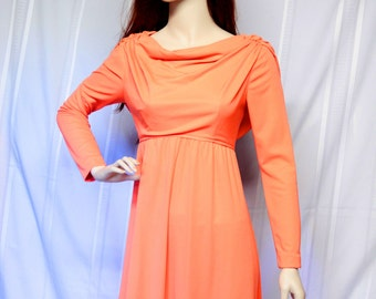 Vintage Dress - Bright Orange Empire Waist Maxi Dress
