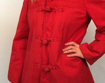SALE //   Oriental vibrant red madeline jacket with frog closures