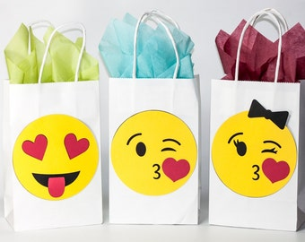 Emoji Party - Emoji Birthday - Emoji Party Bags -  Emoji Favors - Emoji Birthday Party - Emoji Goody Bags - Mix and Match or Set of 12 Bags