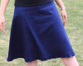 Aline Skirt - A-line Skirt - Modest Skirt - Knee Length - Jean Stretch - Jean Skirt - Custom Made - Denim Stretch - Elastic Waistband