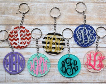 Monogram Keychain, Monogram Key Fob, Monogram Luggage Tag, Monogram Bookbag Tag, Personalized Keychain, Initial Keychain, Zipper Pull