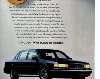 "1989 Lincoln Continenal vintage magazine ad ""what a Luxury car should be"" 1705"