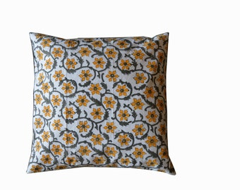Hand Block Printed Cotton Floral Printed 5 Cushion Covers (1 Set)
