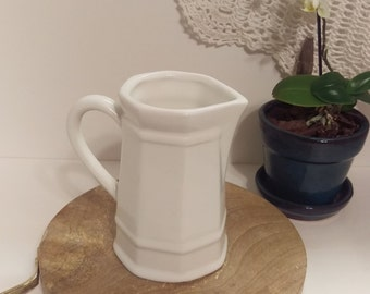 Vintage White  pitcher, Heavy weight ceramic pitcher is a great addition to your kitchen, espresso, foamer, syrup pitcher, white ironstone