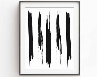 Stroke Abstract Art Print - Large Poster - Art Print - Brushstrokes Art - Black Ink - Brush Stroke - Modern Minimalist Painting - Modern Art