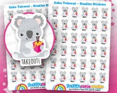 36 Cute Koko the Koala Takeout - Noodles Planner Stickers, Filofax, Erin Condren, Happy Planner, Kawaii, Cute Sticker, UK