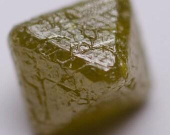 0.44 Carat - Natural Uncut Rough Diamond Fancy Green Octahedron Opaque