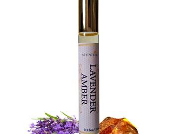 Organic Lavender Amber PERFUME Oil, Lavender Amber Perfume Roll On, Vegan Perfume, Natural Perfume Oil, Gift Idea