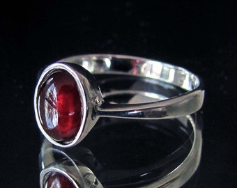 Sterling silver gemstone ring with natural dark red Garnet Cabochon