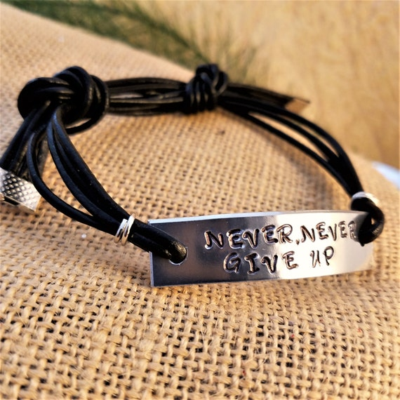 NEVER Give Up Leather Wrist Wrap, Hand Stamped Charm Bracelet, CrossFit Jewelry, Sports Fitness Jewelry, Motivational Gift, Word Quote Charm