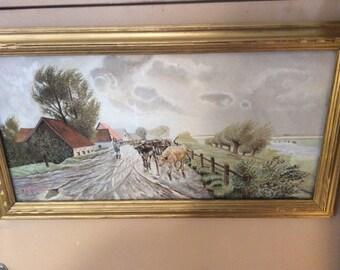 Vintage country watercolor by JJ Quesada