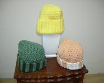 Childs Warm Crochet Hat, Cap, Beanie - Green, Yellow, Tan,