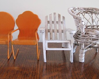 Miniature Furniture, Miniature Chairs, Set of 4 Tiny Chairs
