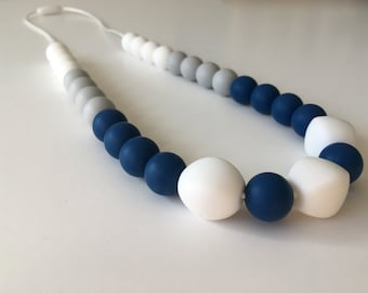 Teether for MOM necklace, necklace of portage, silicone beads, jewelry for moms, shower gift, mint, coral, ivory