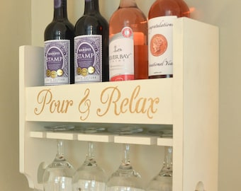 Personalised Handmade Wine Rack. Wine Holder. Personalised with the wording of your choice.