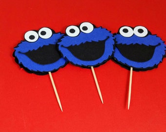 Cookie Monster Cupcake Topper, Sesame Street Birthday, Cookie Monster Decor