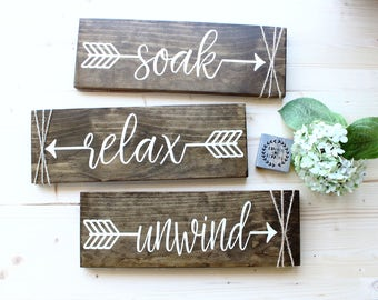 Farmhouse Wall Decor relax soak unwind bathroom wall decor farmhouse bathroom