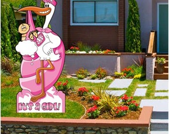 Stork Sign for New Baby - Stand up 6 foot Stork - Installs in Minutes Baby Girl Pink with Stake Kit