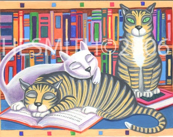 Bookmarks -Book Lover Card - Funny Cat Card  - All Occasion Blank Card - Cute Cat Card