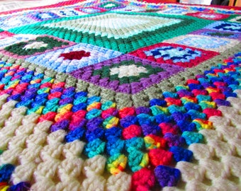 Vintage Colorful Tutu Granny Square Afghan Made with Pure Aloha