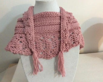 Pink Scarf, Triangle Scarf, Rose Scarf, Lacy Scarf, Knit Pink Scarf, Spring Scarf, Pink Triangle Scarf,  Scarf with Tassels, Gift for Her,