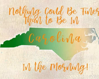North Carolina, home decor, wall decor, digital art, dormitory, student, gift, Christmas gift, decoration, framed, housewarming gift,