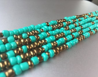 African Waist Beads -- Turquoise and Gold -- 45""