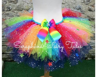 Rainbow Tutu Skirt. Ombre Big Bow with Glitter Stars. Wand Optional. Handmade by Seraphina Fairy  Tales