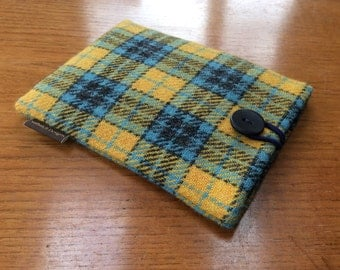 Harris Tweed Kindle paperwhite cover, kindle voyage, Fire 6 HD, Kobo, Nook cover case, Yellow and blue tartan