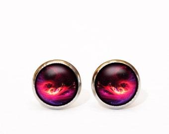Universe stud earrings, Pink Galaxy earrings, Space post earrings, glass earrings, star sky earrings, Christmas Gift, Space Jewellery Studs