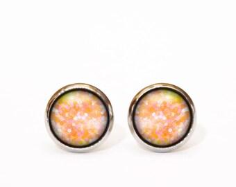 Champagne Peach Earrings Round Elegant Earrings Statement Earrings Feminine Jewellery Girlfriend Gift Earrings for Her Christmas Glitter UK