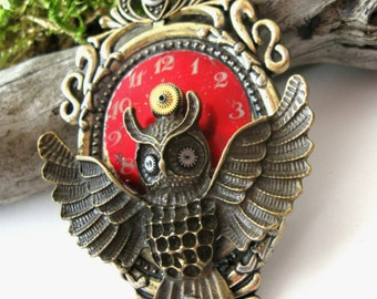 Steampunk owl necklace Vintage style necklace Steampunk pendant Steampunk jewelry Gears Watch necklace Clockwork Steam punk Long necklace