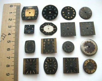 16 pieces. Vintage watch face, From Old Watch Parts, For Steampunk Altered Art Gear, or ScrapBooking
