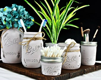 Painted Mason Jars. Mason Jar Bathroom Organizer. Ball Mason Jars. Painted Jars. Toothbrush Holder. Farmhouse Bathroom Decor. Rustic Decor.