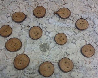 Cherry Wood Buttons / set of 12