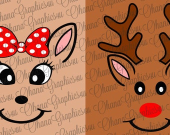 Rudolph the Red Nosed Reindeer Inspired Rudolph and Clarice Faces for Christmas Shirts SVG
