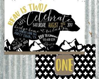 Woodsy Bear Birthday Invitation - Camping
