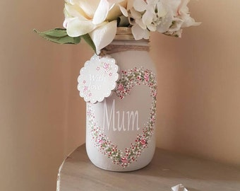Mother's Day - Hand Painted Mason Jar