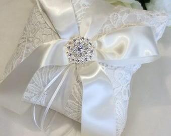 Silk Ring Pillow, Wedding Ring Pillow, Lace Ring Pillow, Ivory Ring Pillow, Ring Bearer Pillow, Elegant Ring Cushion