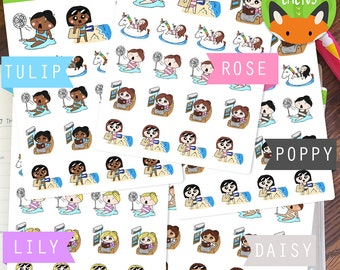 Summer Fun Kawaii Girls Pool Day Hot Beach Sticker Set - Planner Stickers - Planner Decorations ...