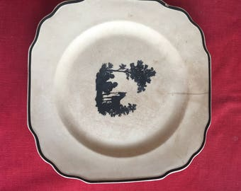 Beautiful Antique Harker Pottery Plate with horse scene