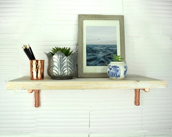 Scaffold Shelf White Washed With Copper Brackets