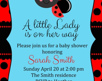 Little lady baby shower invitation digital file